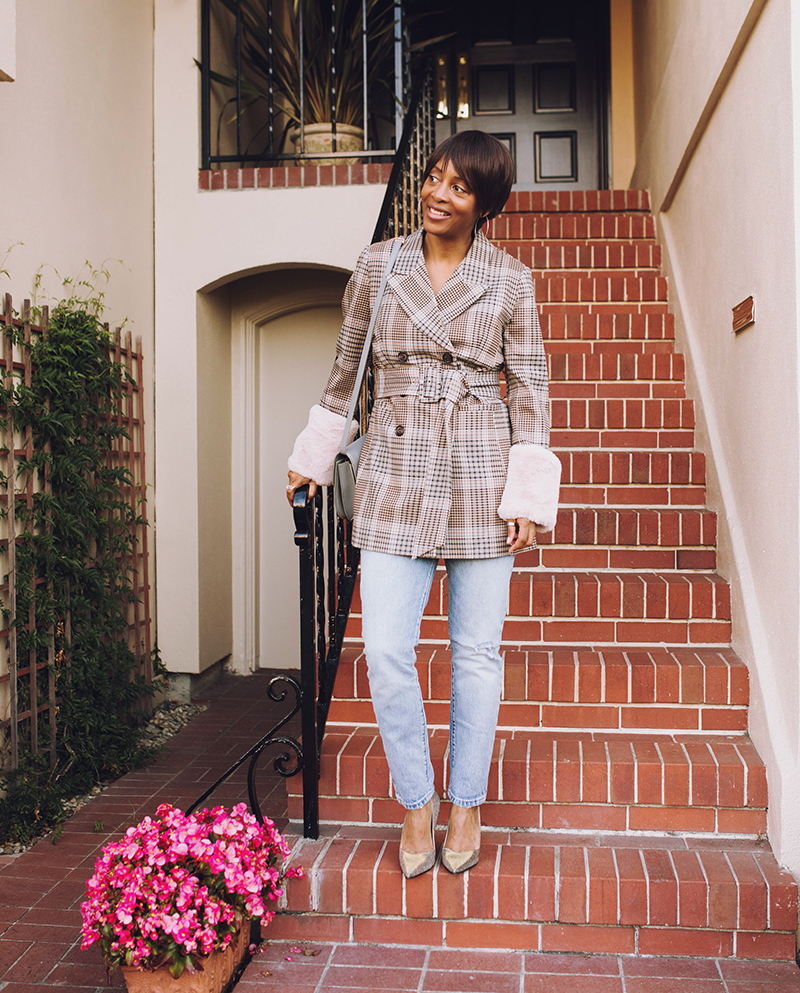 plaid blazer faux fur cuffs sarah flint perfect pump