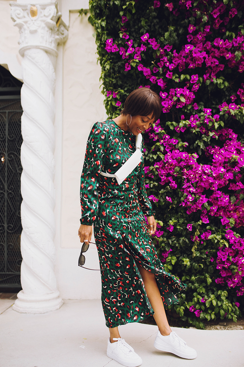 green leopard maxi dress nike air force one sneakers