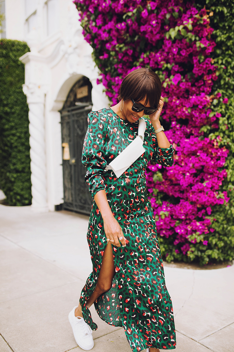 rahi green silky leopard maxi dress bougainvillea