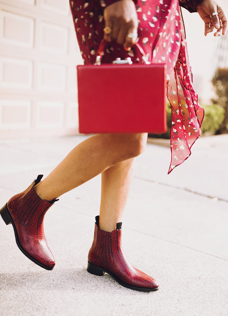 red box bag office of angela scott red snakeskin boots