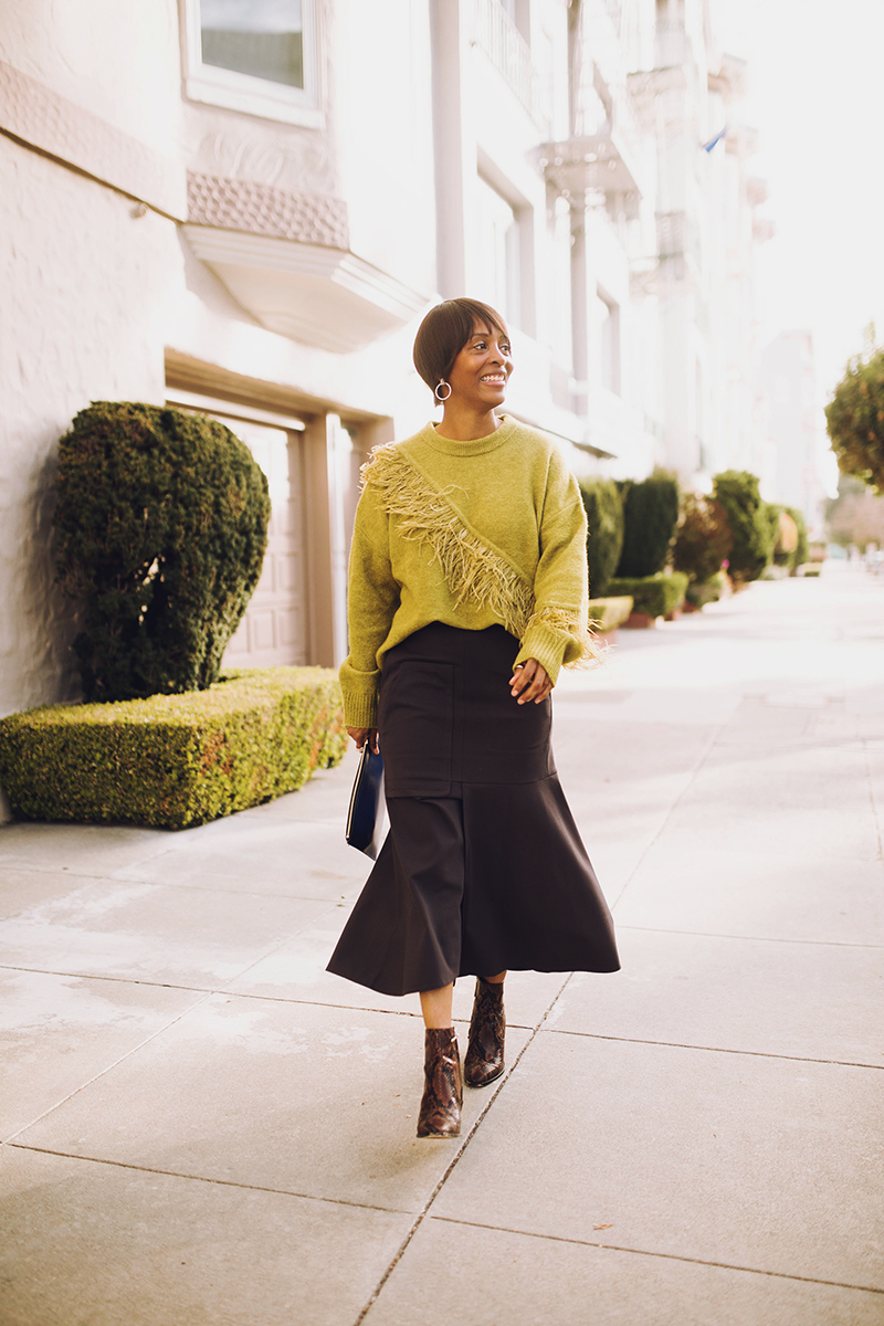 cinq a sept chartreuse feather trim sweater tibi midi skirt