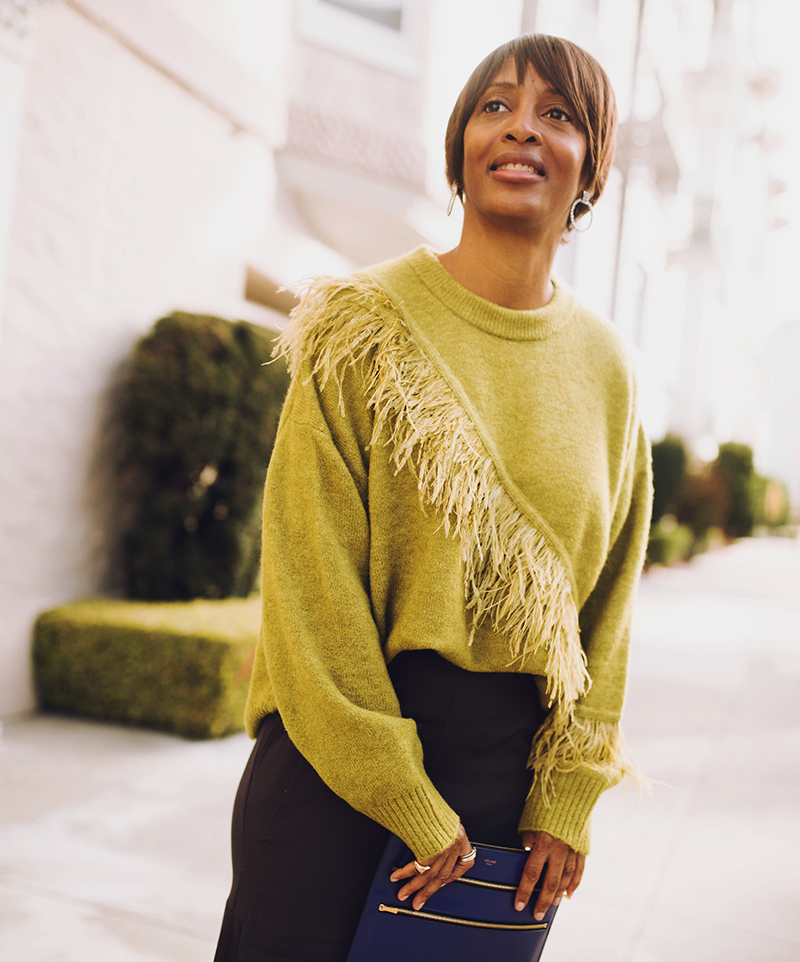 chartreuse feather trim sweater
