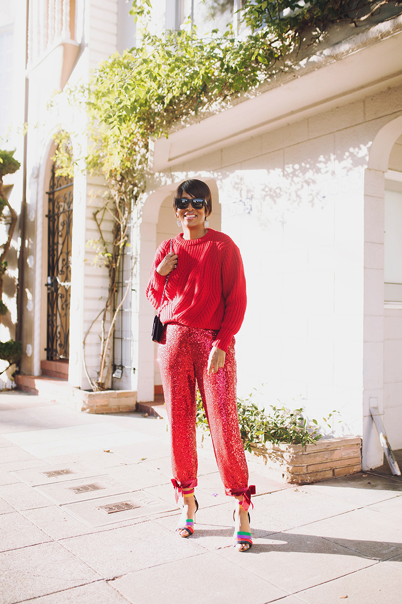 red sweater red sequin cropped pant