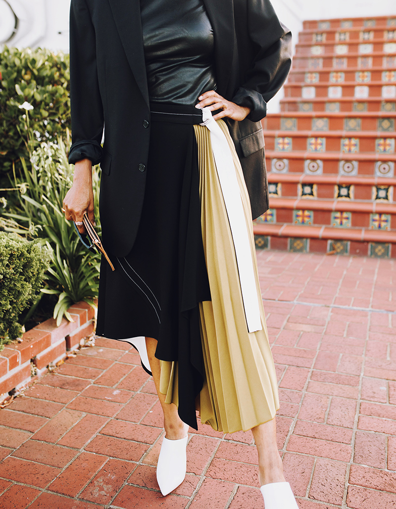 proenza schouler colorblock pleated midi skirt black oversized blazer