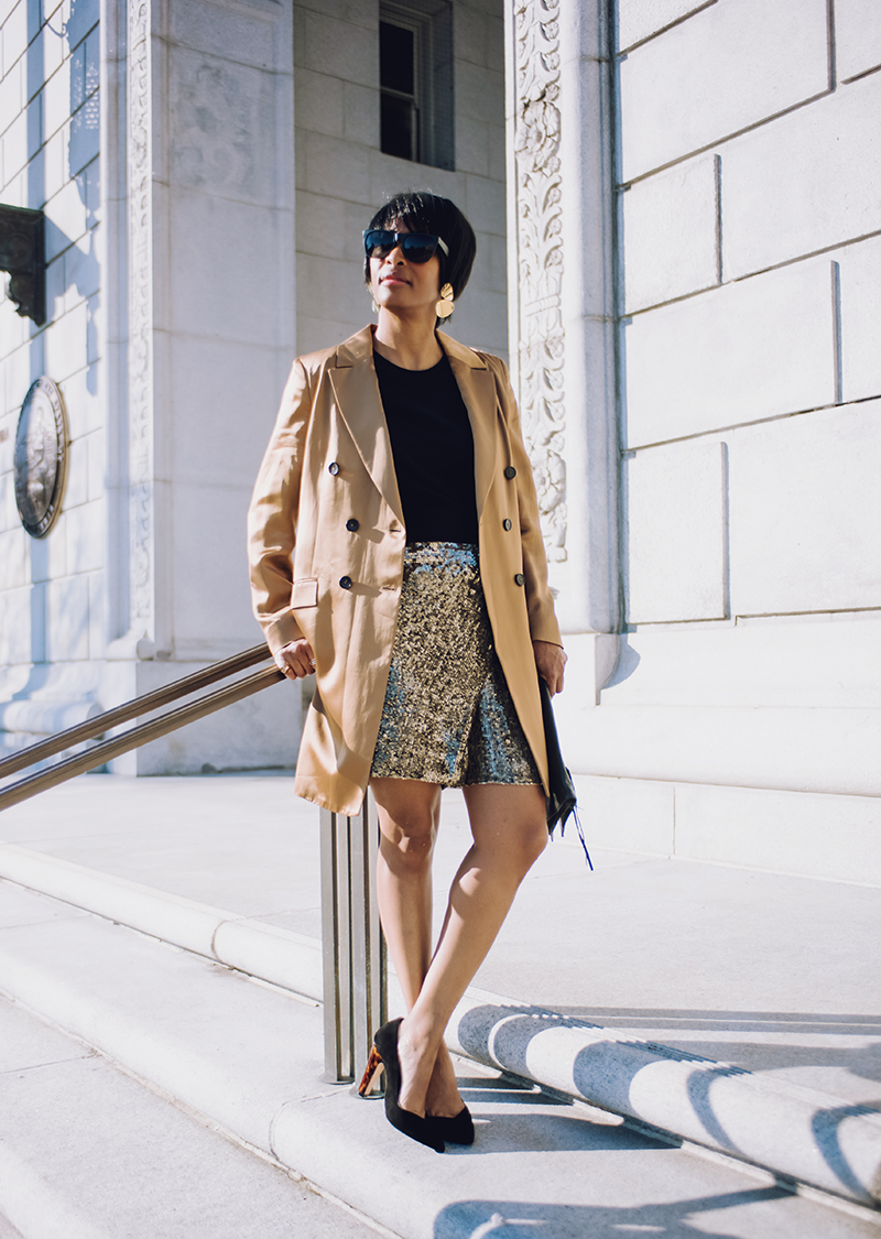 bronze shine blazer sequin skort black suede heel