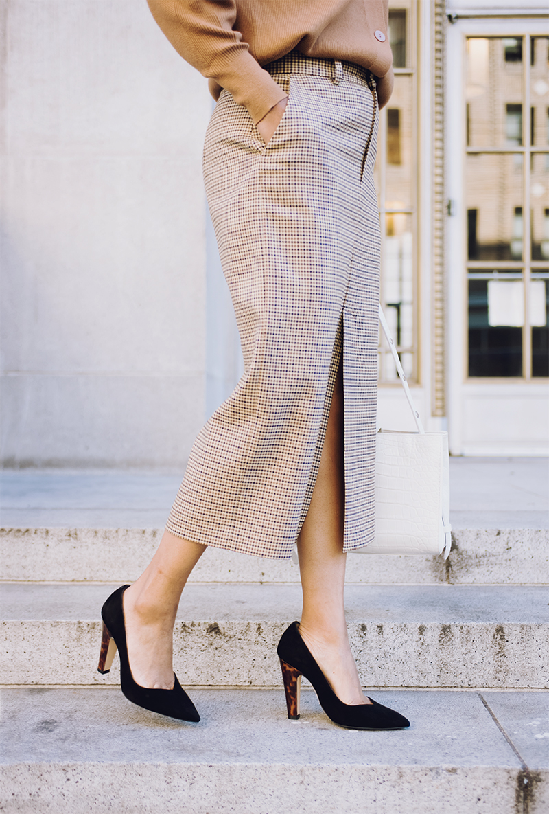 plaid pencil skirt black suede sarah flint perfect jay pump