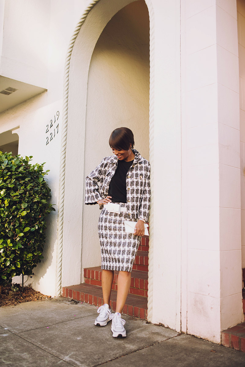 j crew black and white tweed suit nike sacai daybreak sneakers