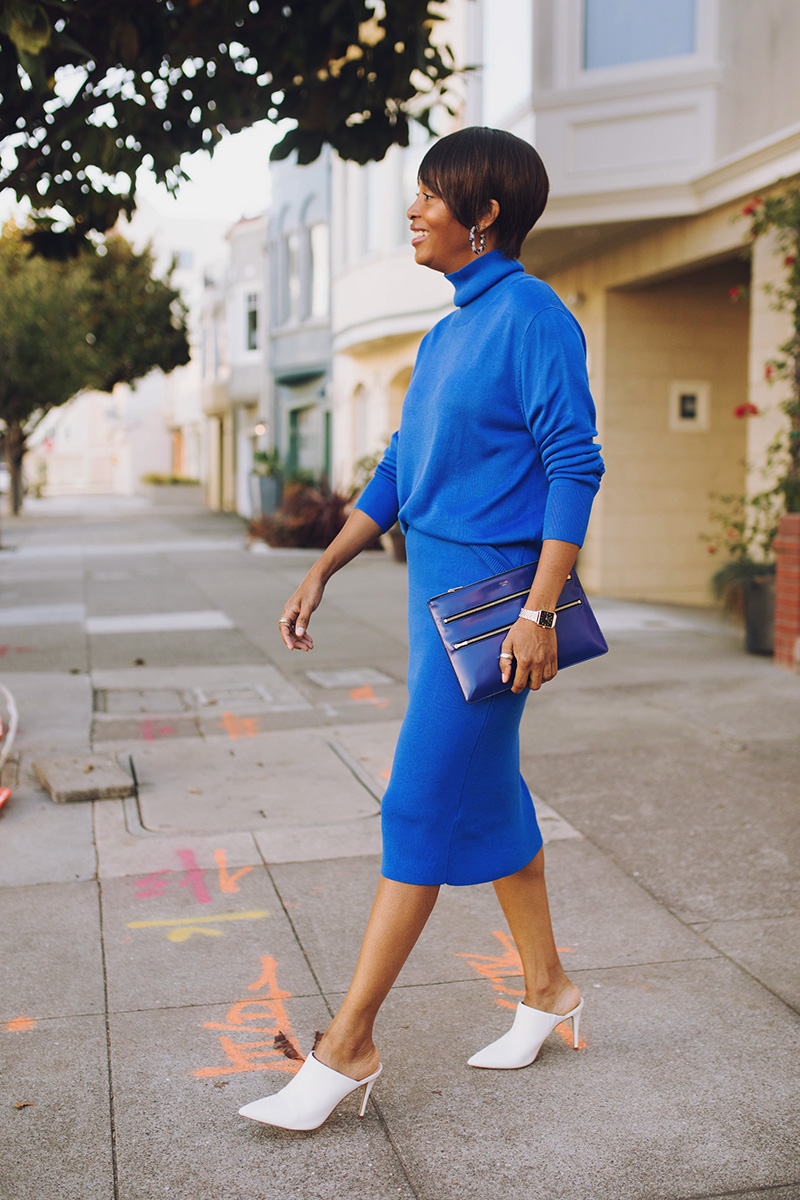 matching classic blue sweater set san francisco neighborhood