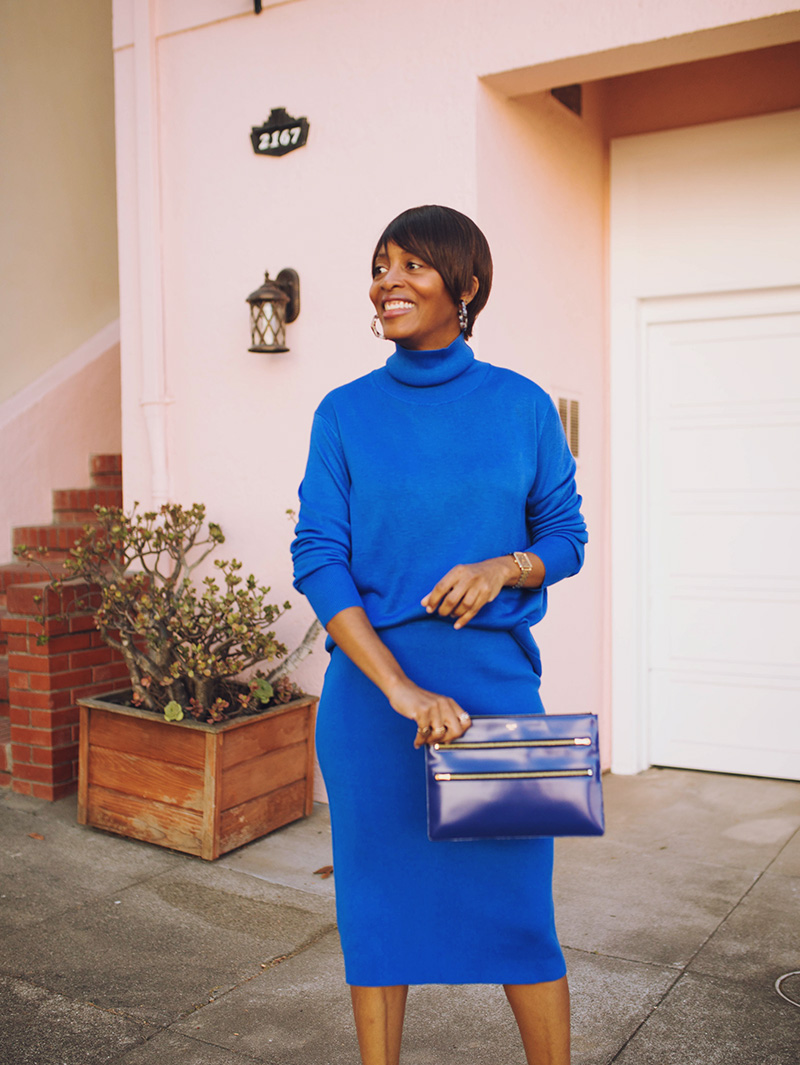 banana republic blue turtleneck matching skirt celine clutch