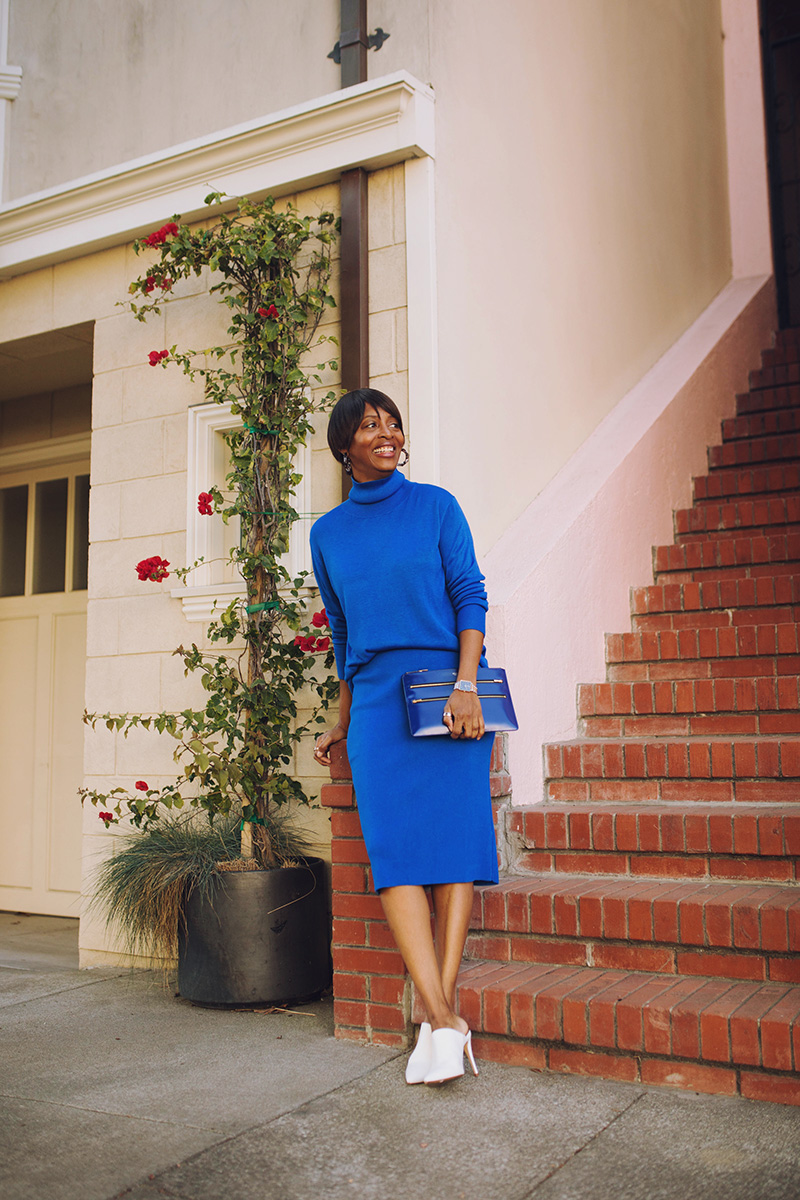 san francisco marina district classic blue sweater set white pumps