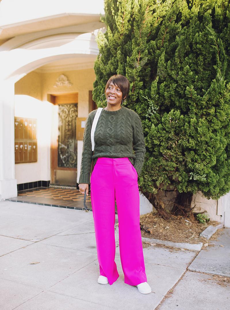 hot pink wide leg pant