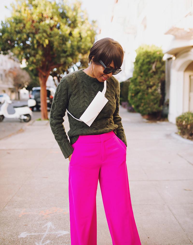 white belt bag olive ralph lauren cable sweater