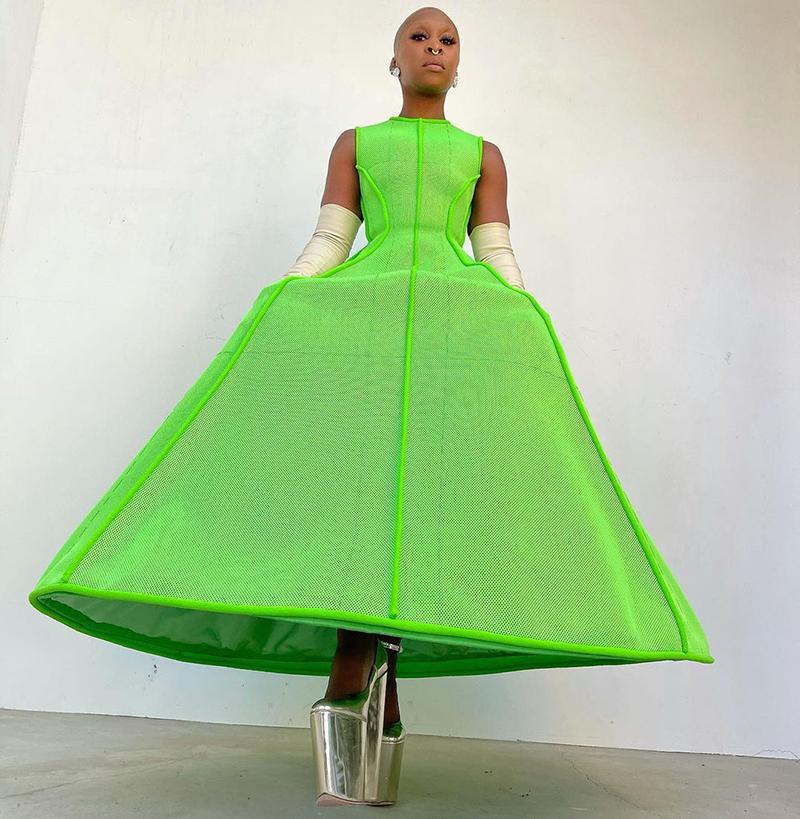 golden globes 2021 cynthia erivo lime green valentino couture