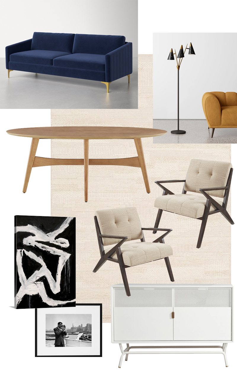 j'adore couture minimalist living room with allmodern white tv stand blue velvet couch