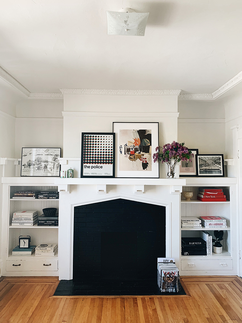 san francisco living room black and white fireplace